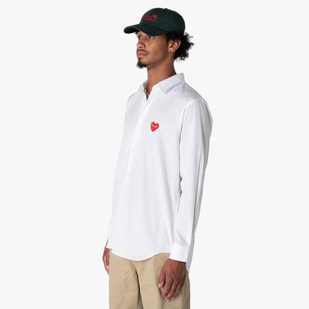 Comme des Garcons Red Heart Button Up Woven Shirt - White