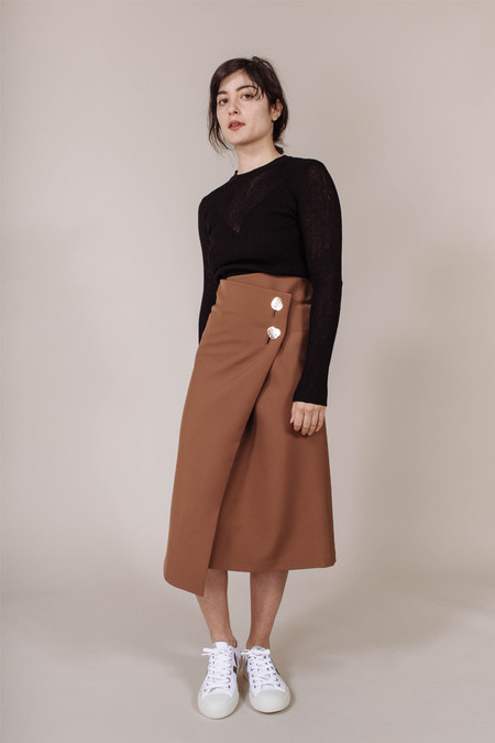 Achro Buttoned Wrap Skirt in Brown