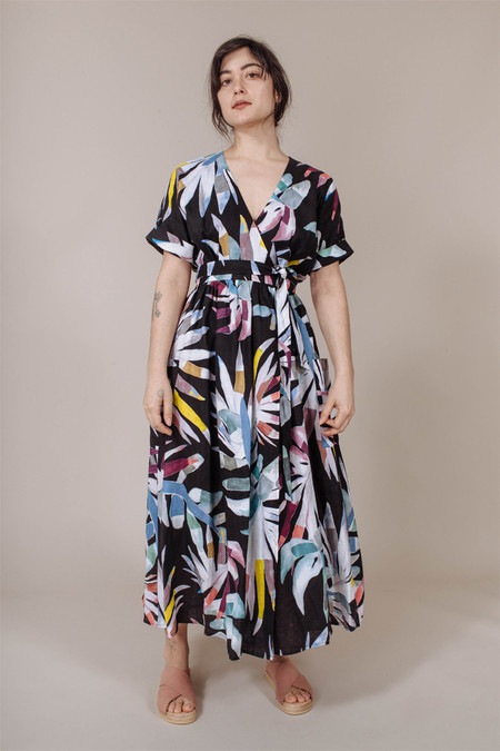 Mara Hoffman Midi Wrap Dress in Black Multi