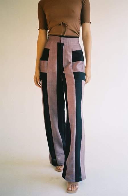 Mozh Mozh Hila Pant - Purpley pink and black stripe