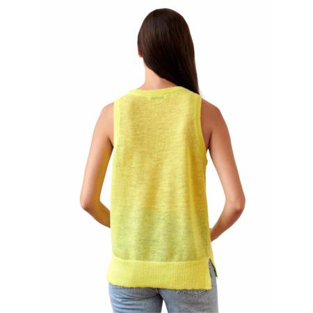 White+Warren Linen Blend Crochet Tank Top - Neon Yellow