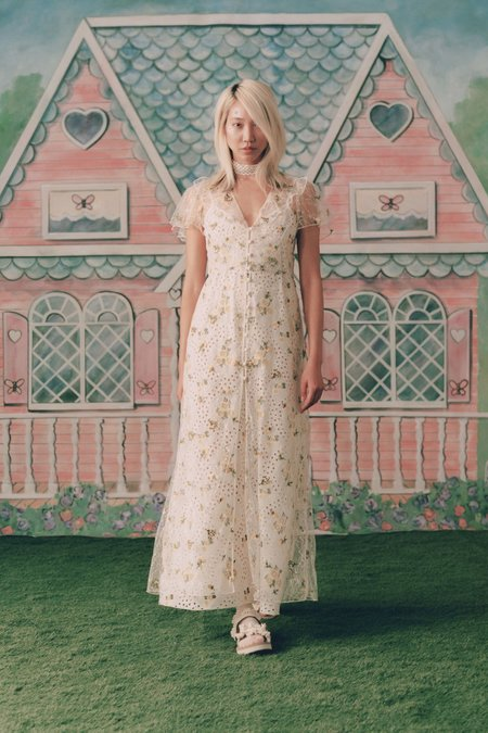 Anna Sui Scattered Blooms Lace Cover Up - Cream Multi