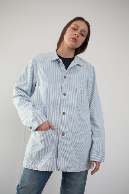 Chimala Unisex Hickory Denim Work Coat in Hickory