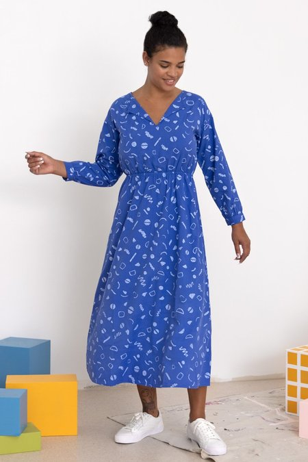 North Of West Luz Squiggles Print Dress - Azure