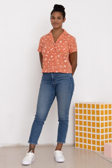 North Of West Rizo Squiggles Print Blouse Top  - Flamingo