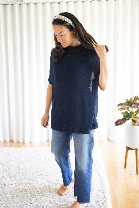 ICHI ANTIQUITES Gima Cotton Pullover - Navy