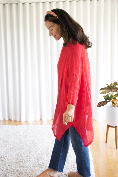 ICHI ANTIQUITES Linen Long Pullover - Red