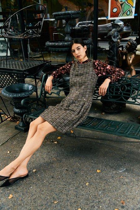PRE-LOVED Chanel Tweed Midi Dress - BROWN
