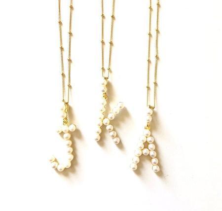 Jennifer Tuton Pearl Initial Necklace