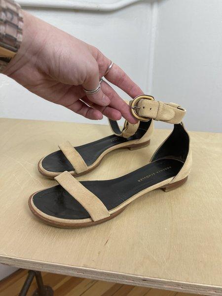 [Pre-Loved] Proenza Schouler Flat Ankle Strap Suede Sandals - camel