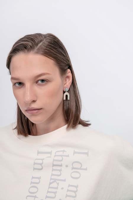 MATTER MATTERS Mountain & Diamond Stud Earrings - Stone/Pea Green