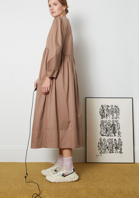 Tibi Eco Poplin Pleat Sleeve Dress - Hazelnut