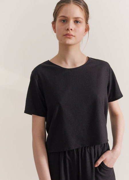 Maria Morgana clio raw silk top - black