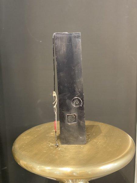 "Celine Cannon Square Pillar Black Solid 12"" Candle"