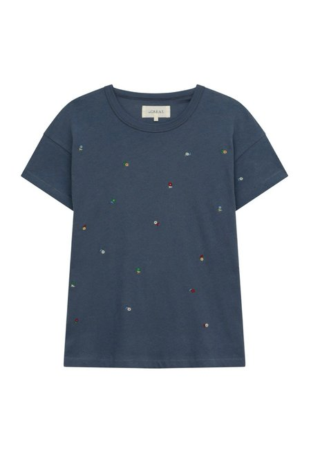 The Great. DITSY FLORAL Boxy Crew top - Vintage Navy