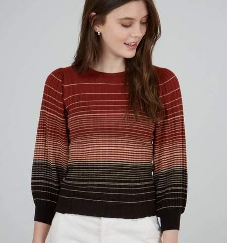 Autumn Cashmere Ombre Stripe Puff Sleeve Crew - Cognac/Brown