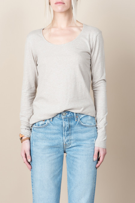 Kowtow Building Block Long Sleeve Top In Oatmeal