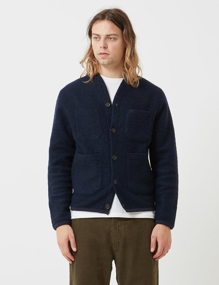 Universal Works Wool Fleece Cardigan - Navy Blue