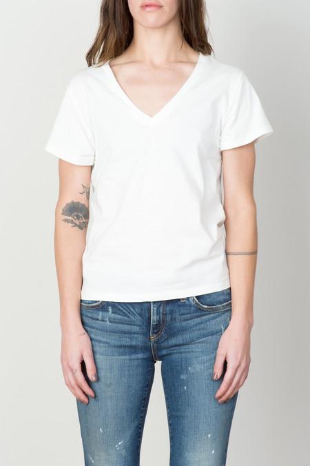 Baserange Cotton V Neck Tee Shirt In Off White