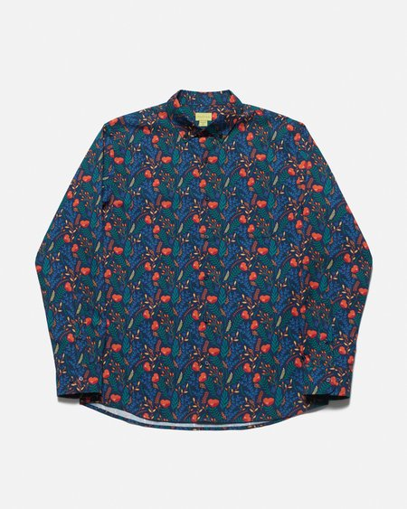 Poplin & Co. Casual Button Down Long Sleeve Shirt - Twilight Garden Print