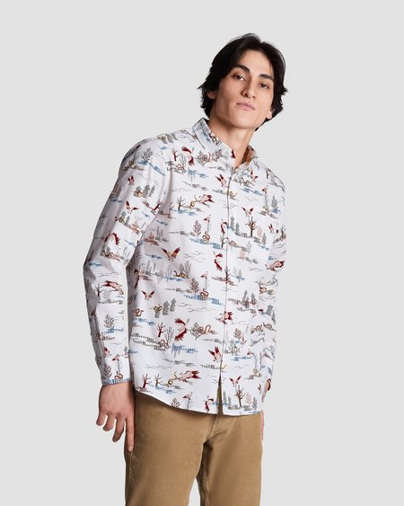Poplin & Co. Casual Button Down Long Sleeve Shirt - Hunting Hawk Print