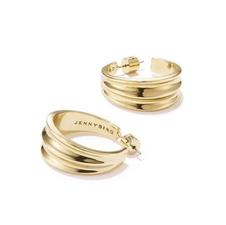 Jenny Bird Pleated Hoop Earrings - Gold