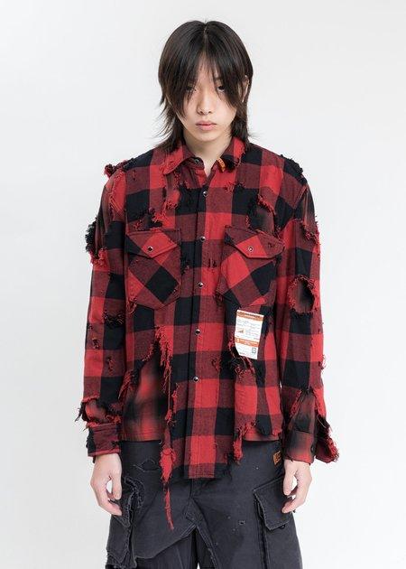 Mihara Yasuhiro Broken Layered Check Shirt - Red