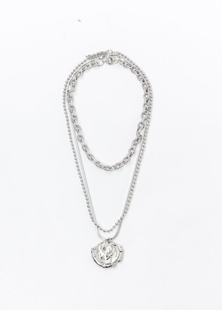 DEPARTMENT Mix Chains With Coin Necklace - Silver