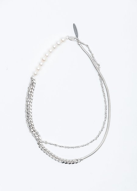 William Shen Pearl and Mixed Chain Necklace - Silver