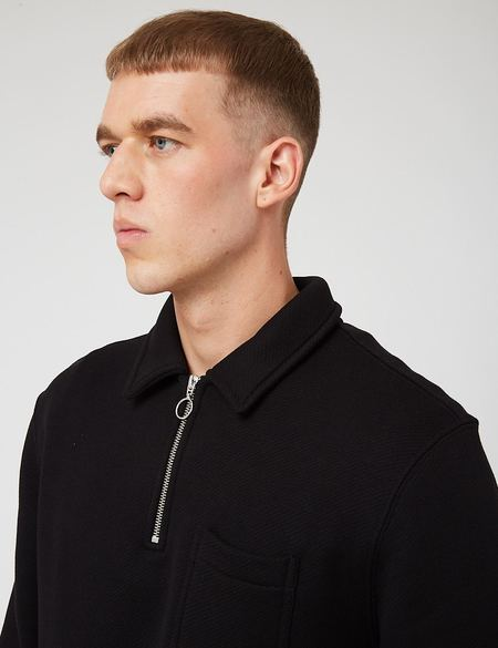 Bhode Everyday Loopback Half-Zip Collar Sweatshirt - Pirate Black