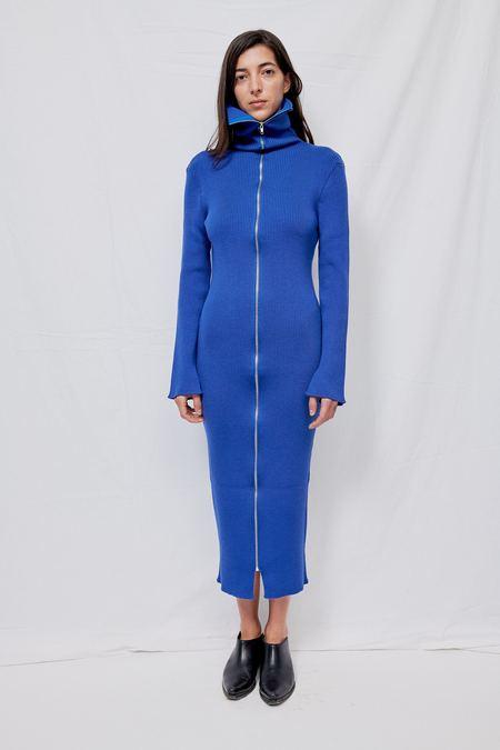 Gabriela Coll Garments NO.133 Knitted Zipper Dress - Electric Blue