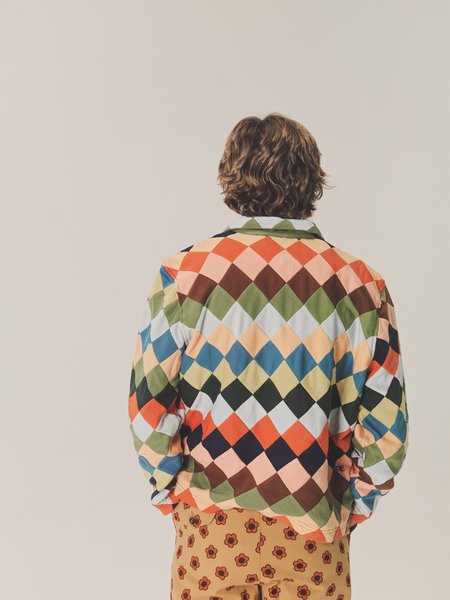 BODE Knit Quilt Check Quarter Zip Jacket