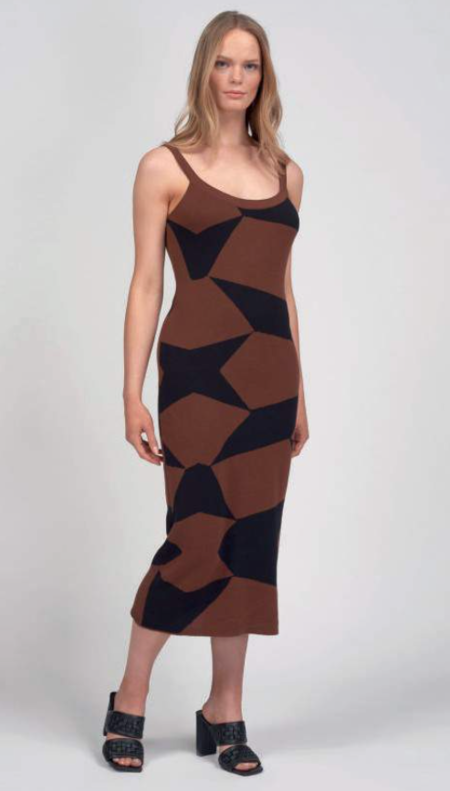 Another Girl Geo Knit Midi Dress - Brown/Black