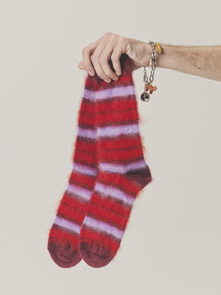 Marni Fuzzy Mohair Socks - Red/Purple Stripe