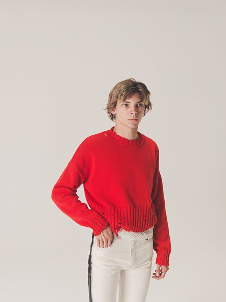 Marni Destroyed Cropped Cotton Knit Sweater - Red