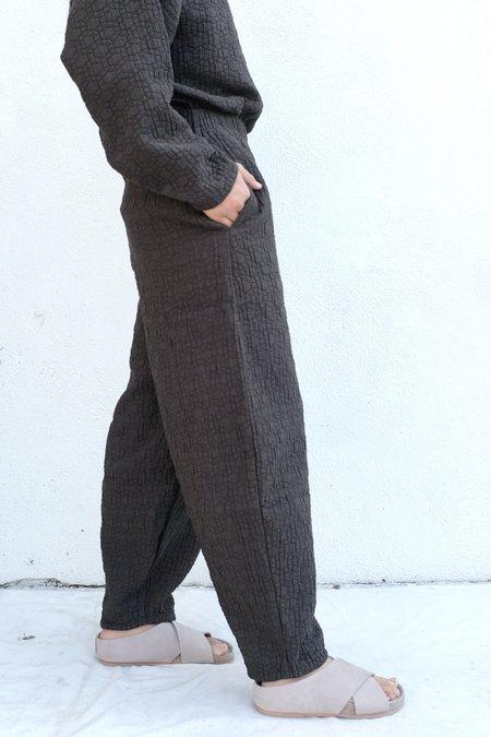 Black Crane Quilted Wide Pant - Dark Grey