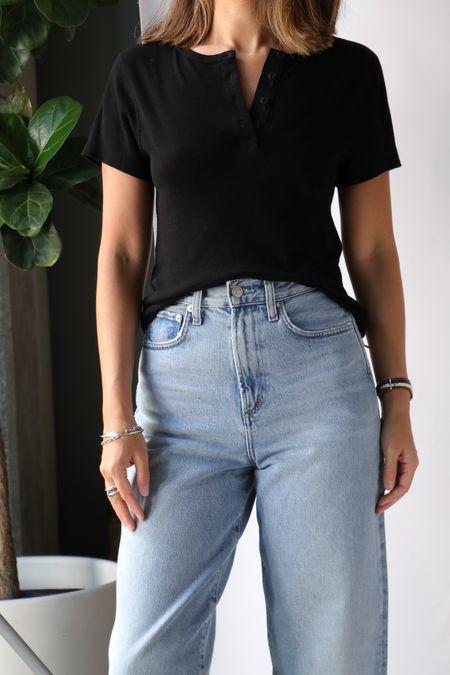 Re/done 60s Short Sleeve Henley - Vintage Black