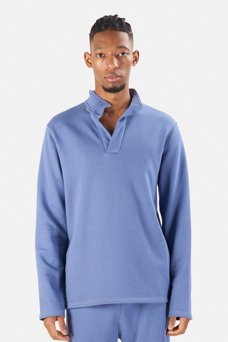 Men's Blue&Cream Pop Collar Pullover Sweater - Sail Blue