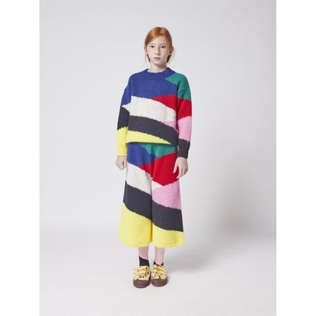 kids bobo choses block knitted culotte pants - multicolor