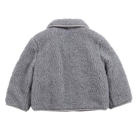 kids Bobo Choses  Face Embroidery Sheepskin Jacket - Grey