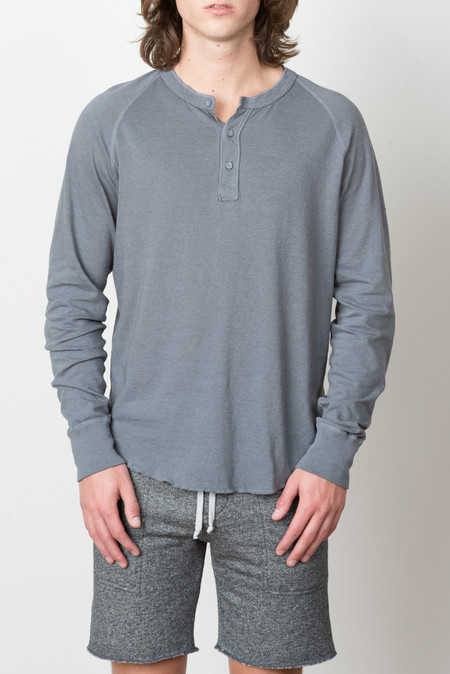 Save Khaki L/S Heather Henley In Metal