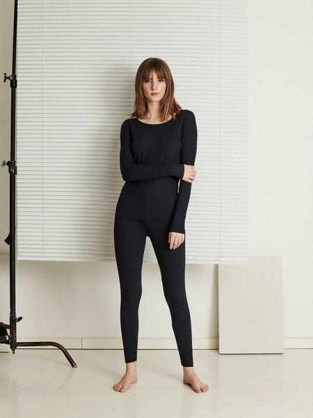 Celine Longsleeve Rib Top - Black