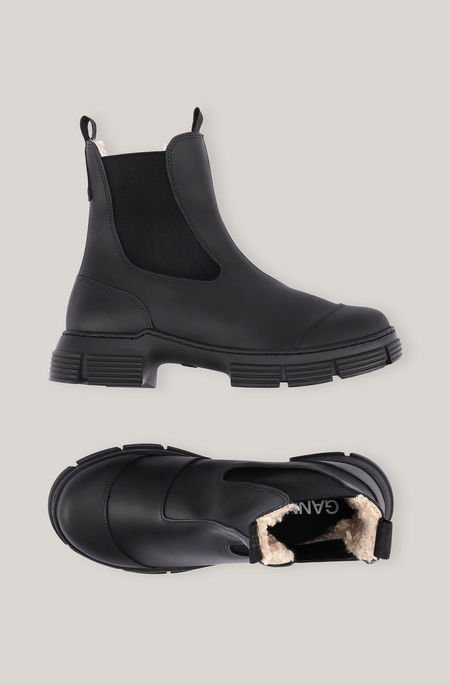 Ganni Recycled Rubber and Fur City Boot - Black