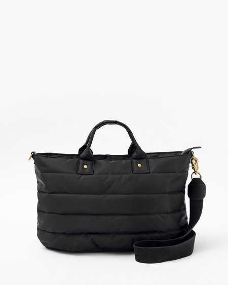 Clare V. Quilted Puffer Messenger - Black