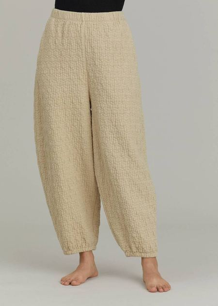 Black Crane Quilted Wide Pants - Natural