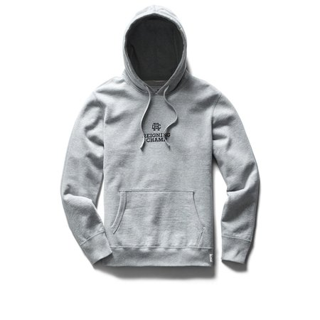 Reigning Champ Mid Weight Lockup Relaxed Fit Pullover Hoodie - Heather Grey