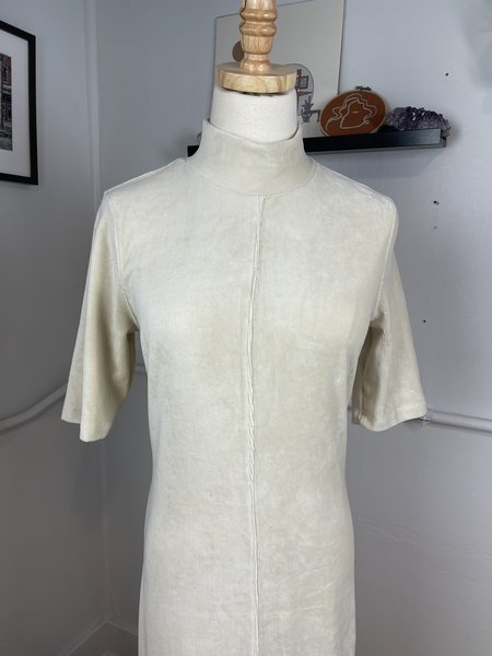 pre-loved Lilla P. Velour Ribbed Mock Neck Maxi Dress - cream