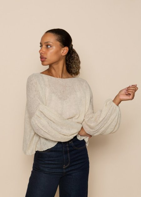 Louiza Babouryan Cashmere Slouchy Sweater - Cream