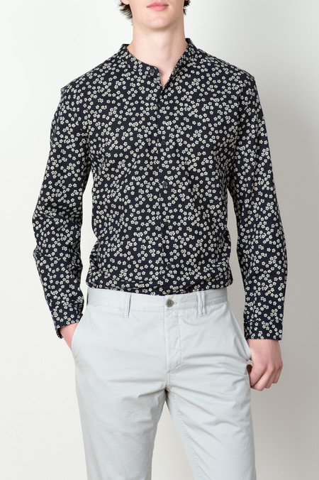 3x1 NYC Mandarin Collar Shirt In Micro Floral