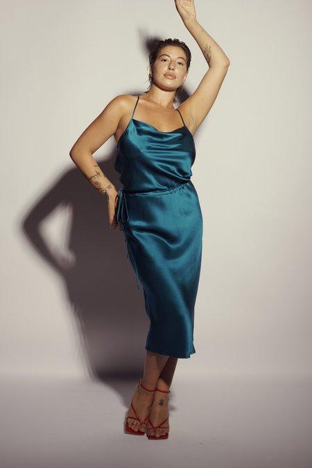 KES Nane Cowl Neck Silk Slip Dress - Black
